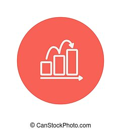 Business sales increase thin line icon