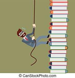 Businessman climb book