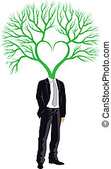 Businessman with tree head, vector