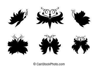 Butterflies silhouettes for laser cutting