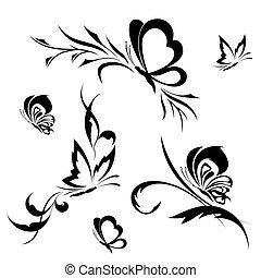 Butterflies with a flower pattern