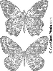 butterflies with detailed delicate texture, vector
