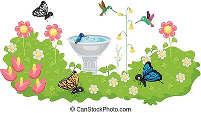 Butterfly Hummingbird Garden Bird Bath