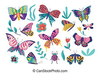 Butterfly moth insect vector illustration set, cartoon insects collection with colorful flying butterflies group, bug icon isolated on white