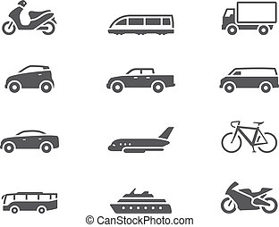 Transportation icon series in single color style