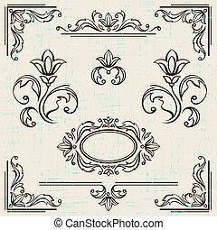 Calligraphic design elements and page decoration vintage frames.