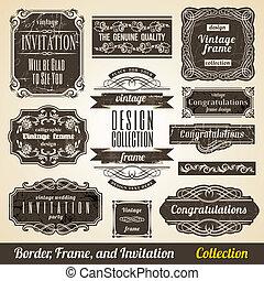 Calligraphic Element Border Corner Frame and Invitation Collection.