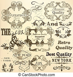 Calligraphic set of vector decorati