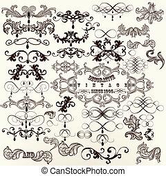 Calligraphic set of vintage vector