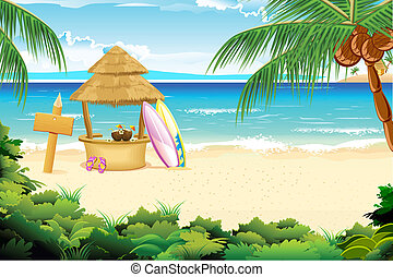 illustration of straw hut and surfing board in beach view