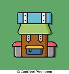 camp backpack vector icon