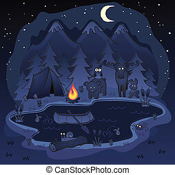 A night camping scene in the forest and mountains with a group of woodland animals keeping you company