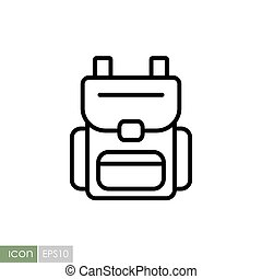 Camping backpack vector icon. Camping sign
