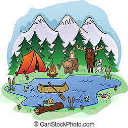 A day camping scene in the forest and mountains with a group of woodland animals keeping you company