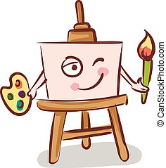 Canvas holding a brush on easel illustration color vector on white background