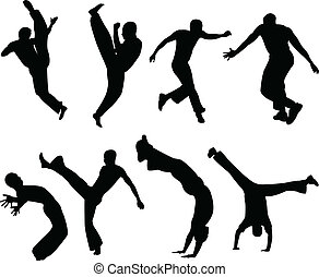 Capoeira fighters silhouettes collection - vector