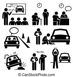 A set of human pictogram representing a man getting lesson and test at a driving school to obtain the car license.