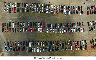Overhead view of cars parked outside of venue