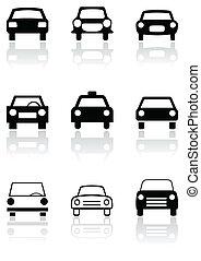Car symbol or road sign vector set.