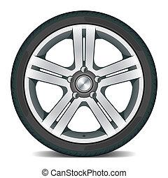 Detailed vector illustration of a car wheel