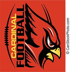 cardinal football team design with mascot and laces for school, college or league