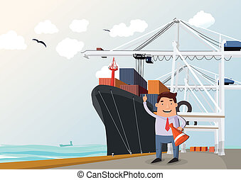Cargo ship in port, figure of man in front