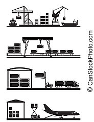 Cargo terminals icon set - vector illustration