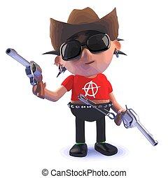 Cartoon 3d punk rocker character dressed as a cowboy with guns