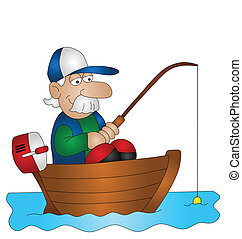 Cartoon angler fishing from boat isolated on white background