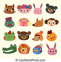 cartoon animal head icons