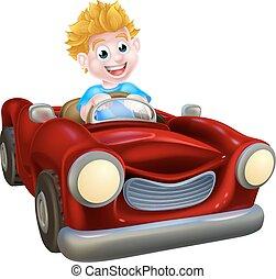 Cartoon Boy Driving Car