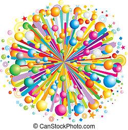 Multicolor cartoon burst, vector