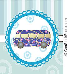 cartoon bus on background