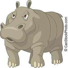 Cartoon Character Hippopotamus Isolated on White Background. Vector.