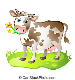 Cartoon character of cow on the grass