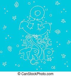 Cartoon doodle lettering Sea Trip