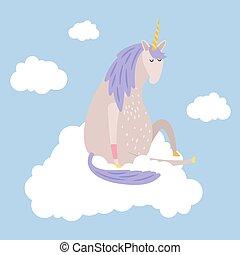 Cartoon dreaming unicorn flies on cloud vector illustration