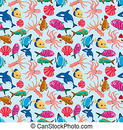 cartoon fish seamless pattern