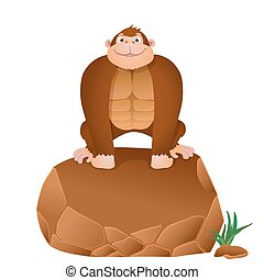 cartoon gorilla sitting on a stone. vector background