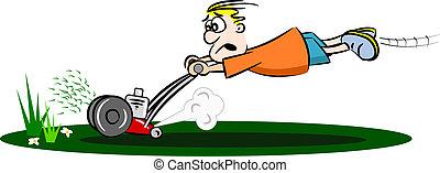 A cartoon guy cutting the grass with a run away lawn mower