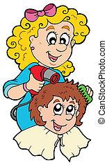 Cartoon hair stylist - vector illustration.