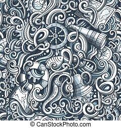 Cartoon hand-drawn nautical doodles seamless pattern
