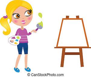 Cartoon happy little Painter girl with paint brush