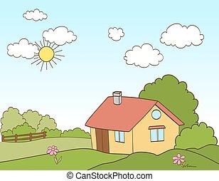 Cartoon house in countryside. vector