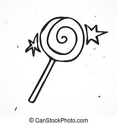 Cartoon lollipop, hand drawn