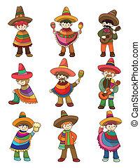 cartoon Mexican people icon set