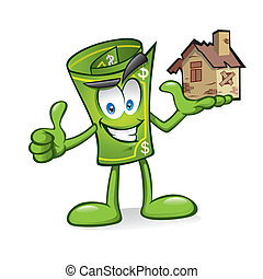 Cartoon money is being raised homes damaged with one hand with a smile and a thumbs-up