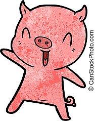 cartoon pig dancing