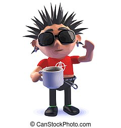 Cartoon punk rocker 3d character drinking a cup of coffee