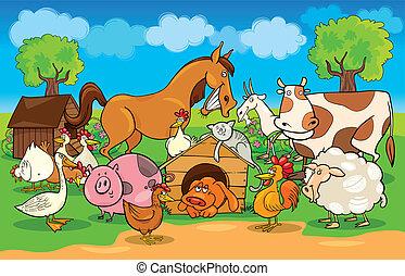 cartoon illustration of rural scene with farm animals group